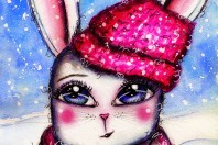 Whimsical Winter Bunny Watercolor Artjournal Page by Andrea Gomoll