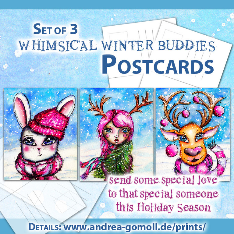 andrea gomoll whimsical winter buddies printed cards