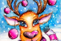 whimsical watercolor drawing - winter reindeer - by Andrea Gomoll