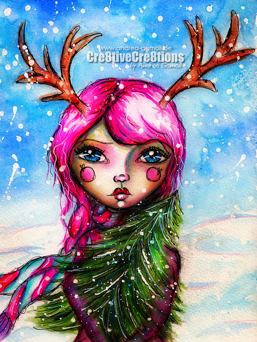 Winter Whimsy Girl with Watercolors