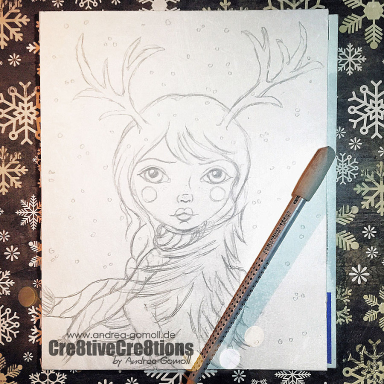 winter drawing whimsical girl watercolor