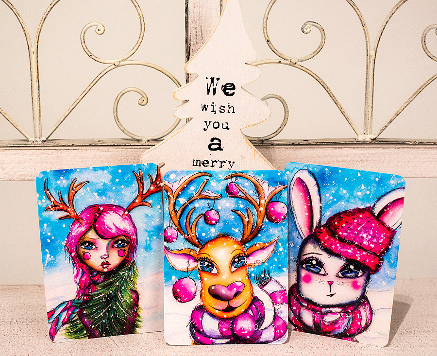 Whimsical Winter Buddies Watercolor Art Prints - Christmas Cards by Andrea Gomoll - purchase your Set now