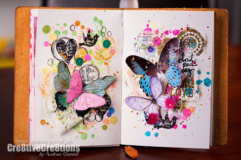 Mixed Media Artjournalpage Tutorial Butterflies