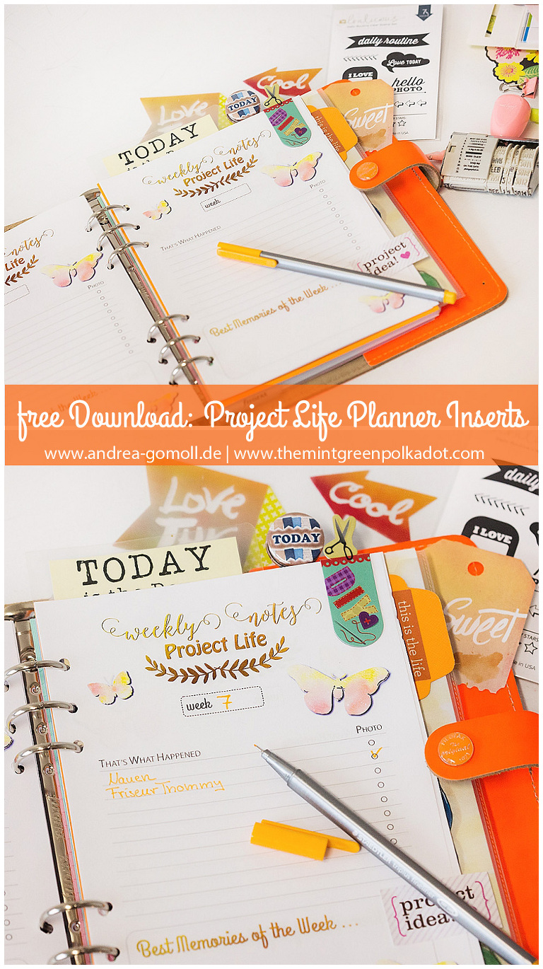 free planner printable insert project life filofax