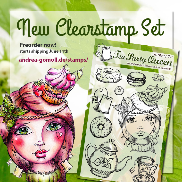 Teaparty Queen Clearstamp Set by Andrea Gomoll