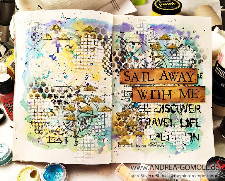 #lovesummerart LoveSummerArt Artjournal Page Tutorial by Andrea Gomoll