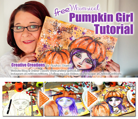 Free Whimsical Pumpkin Girl Mixed Media Painting tutorial by Andrea Gomoll Cre8tive Cre8tions