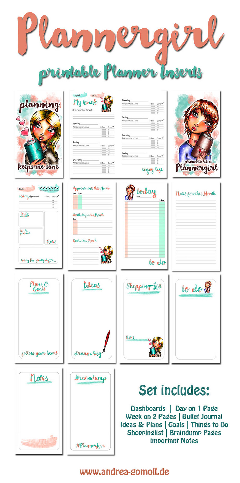 Printable Planner Inserts with whimsical Illustration by Andrea Gomoll