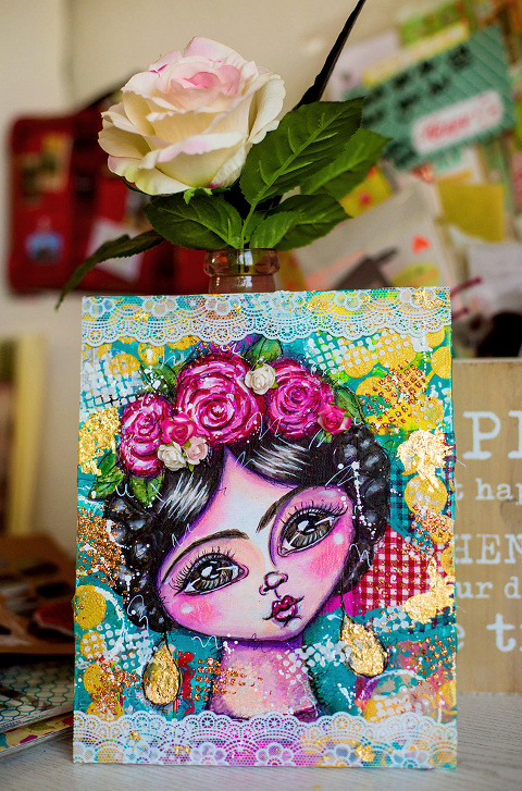 Frida Kahlo whimsical Mixed Media Painting