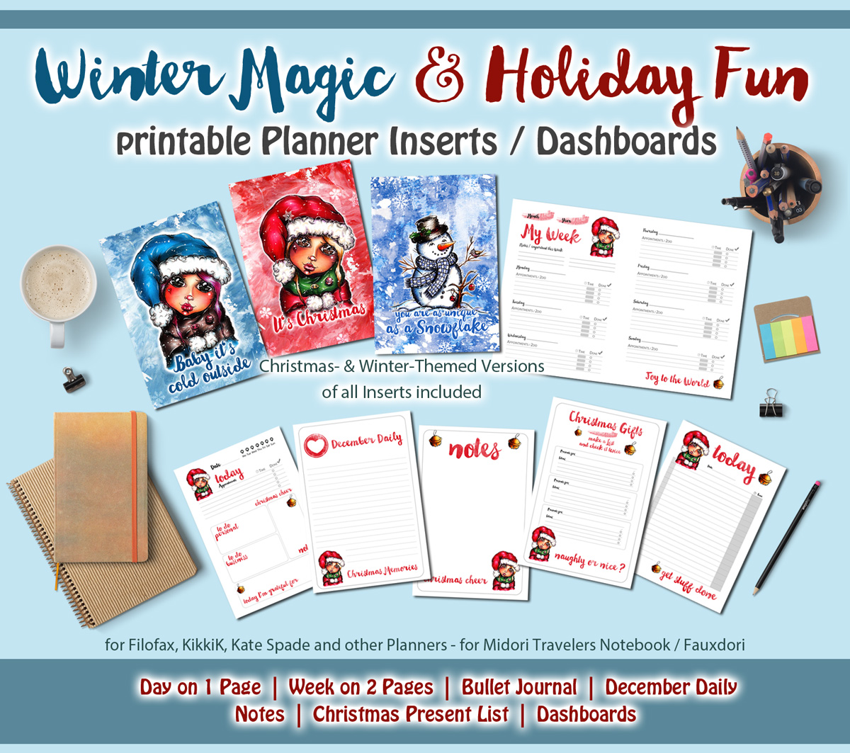 photo regarding Midori Traveler's Notebook Printable Inserts identified as Wintertime Magic and Xmas Entertaining-printable PLANNER Include Mounted