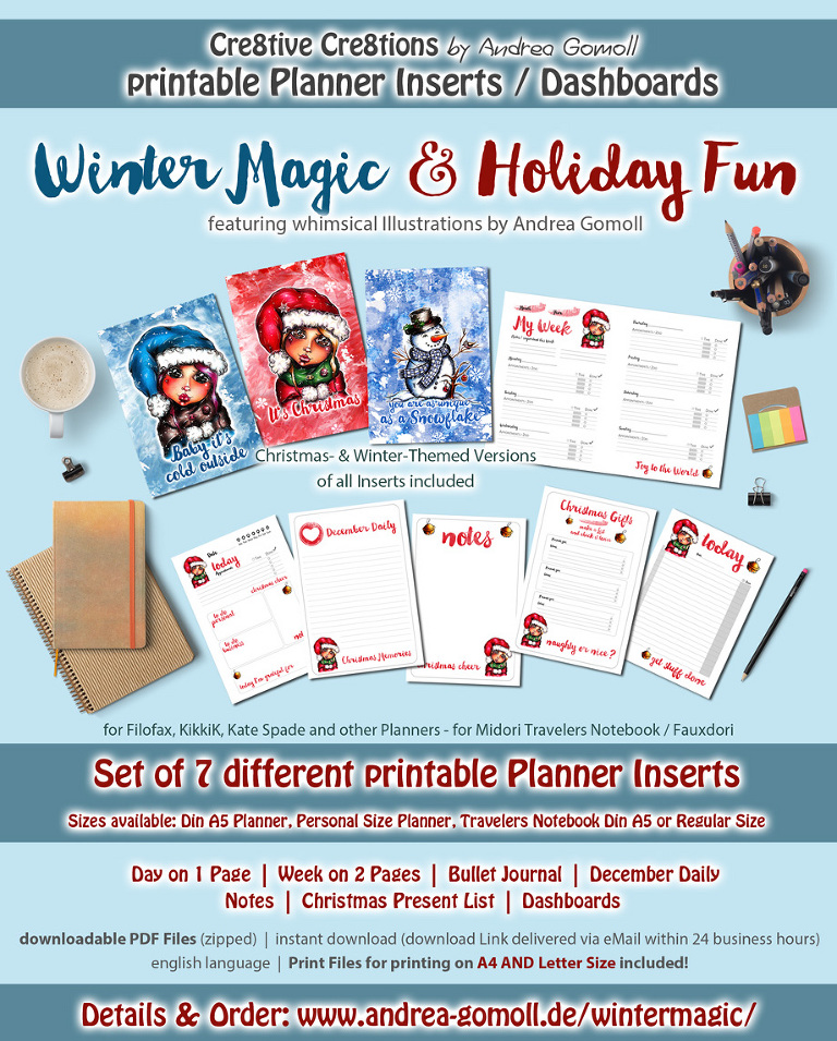 Christmas Winter Planner Inserts by Andrea Gomoll