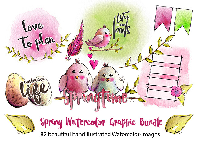 Spring Watercolor Printables / Clipart For Plannersticker