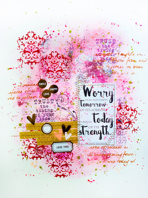 Mixed Media Artjournal Page favourite Quote Glitter