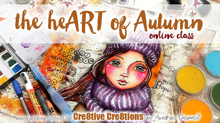 the heART of Autumn-Watercolor and Mixed Media Online Class