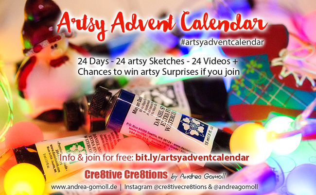 December Daily Art - Artsy Advent Calendar 2016 - join for free and create a tiny Sketch with me daily for a Chance to win
