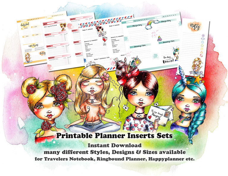 Planner Inserts for Plannergirls by Andrea Gomoll instant downloads