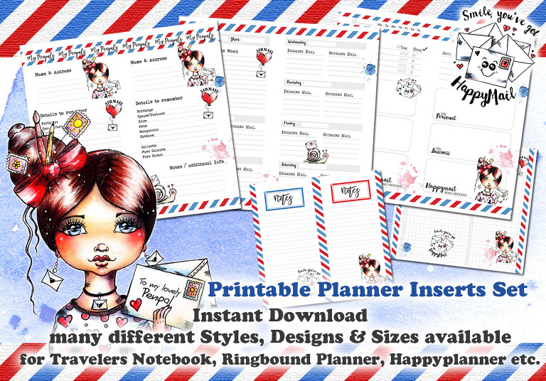 Happymail Penpal Planner Inserts by Andrea Gomoll
