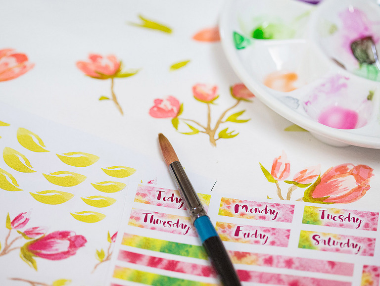 Watercolor Stickers for Plannergirls by andrea Gomoll