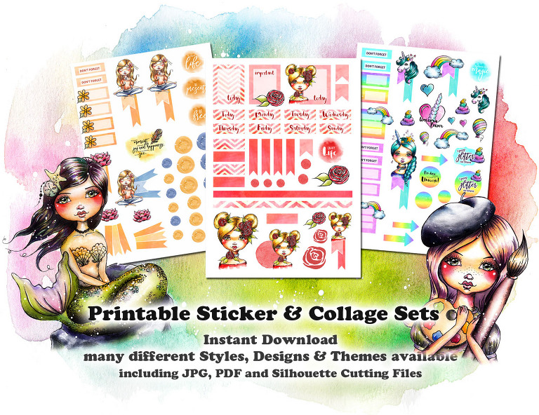 Printable Sticker Stickerfiles and digital collage Sheets by Andrea Gomoll instant downloads